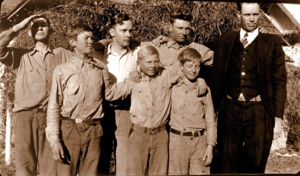 The Fuchs brothers, 1930: Vernon, Roland, Rudolph, Marco and Marion, George, Herman. Older brother Ewald was living at Ingleside, TX, at that time.