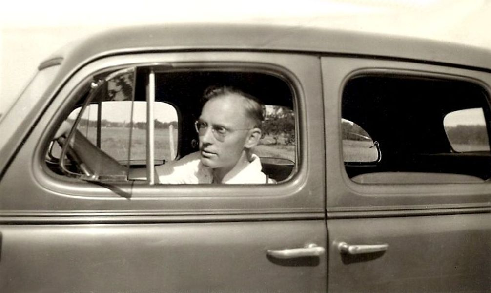 Rudi in his car, 1937
