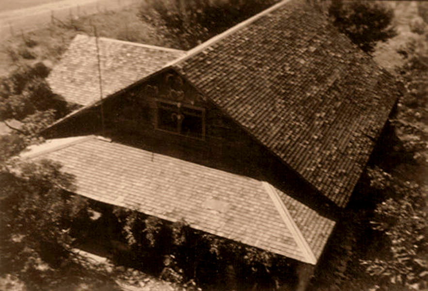 The big ranch house as viewed from the windmill; photo taken by Sherrill in 1942