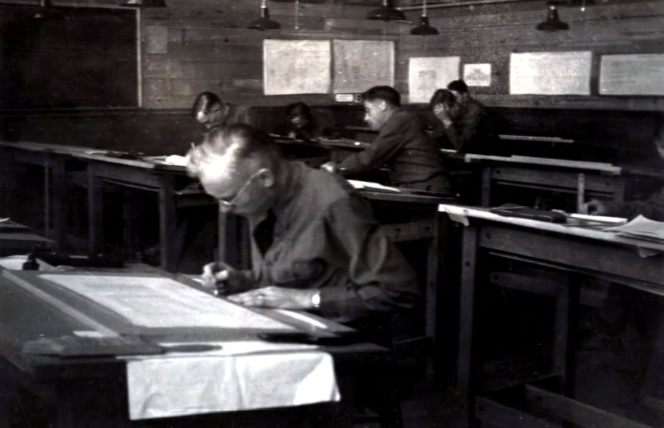 Drafting class, Ft. F. E. Warren, WY, April 1942