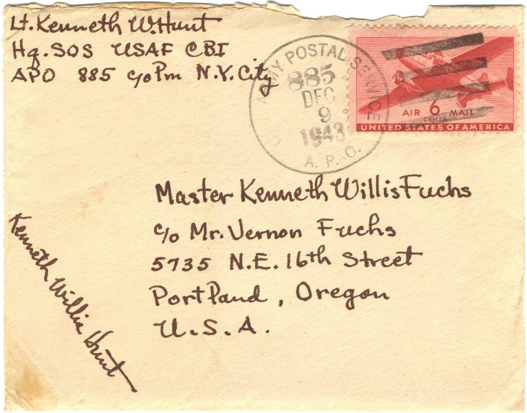 Envelope of letter from Kenneth Hunt, December 1943