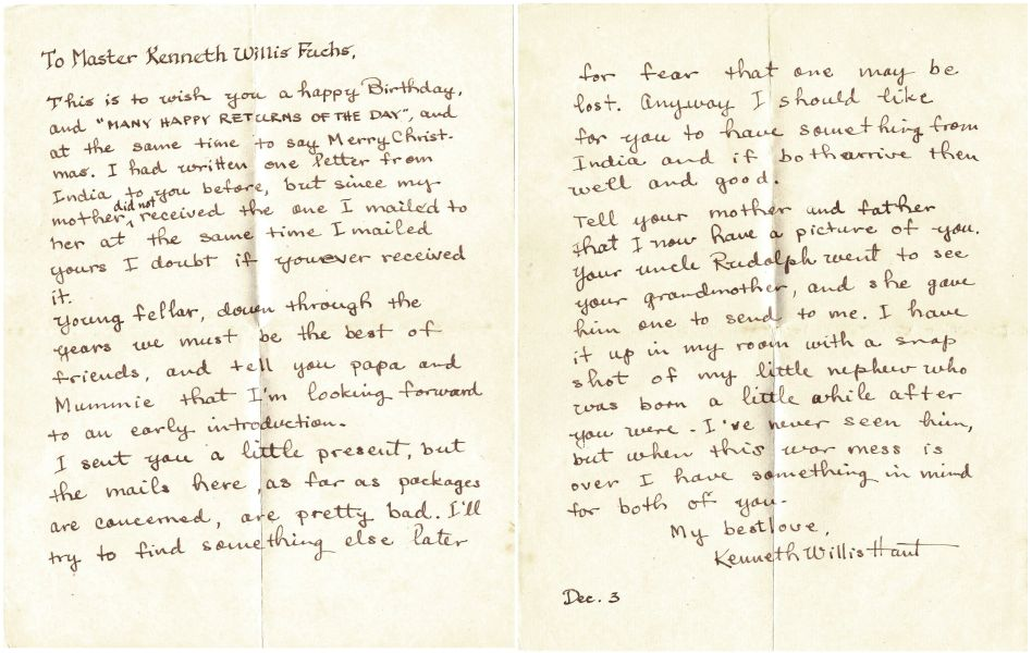Kenneth Hunt's letter, December 1943
