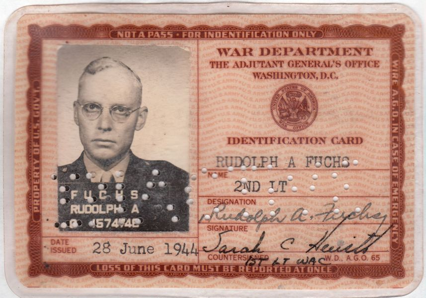 Rudi's War Department ID card