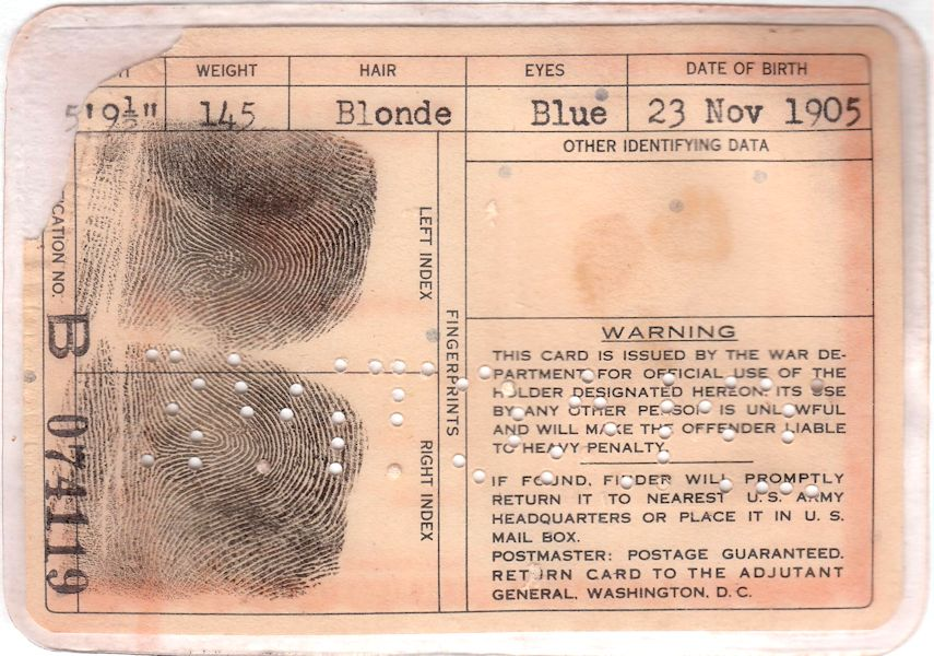 Rudi's War Department ID card, reverse side