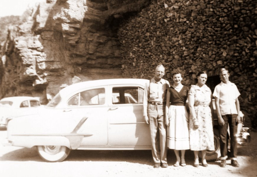 1956-03 George, Georgia, Mildred, and A.J. in front of Fox Cave