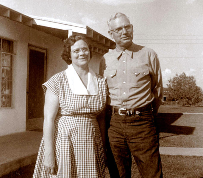 1957 Mildred and George in front ot their Ruidoso house