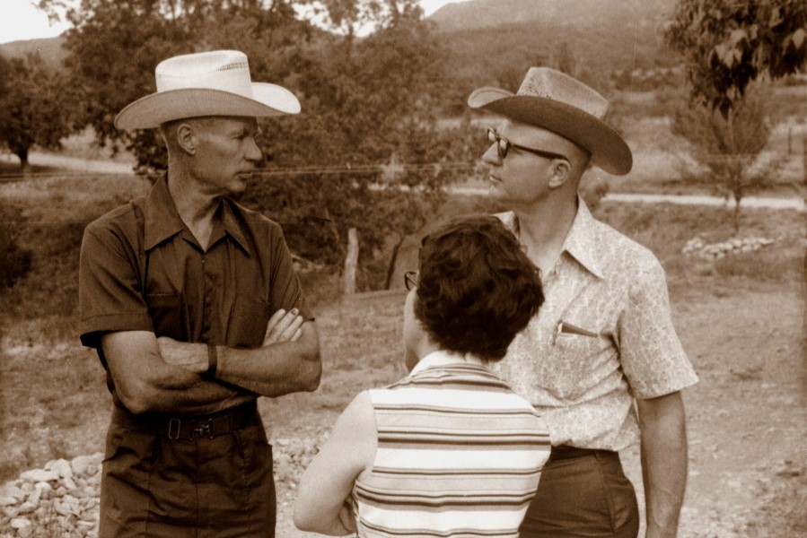 Herman, Orma, and Marco at  the family gathering for Grossmama's funeral, Ewald's farm near Ruidoso Downs, July 1972