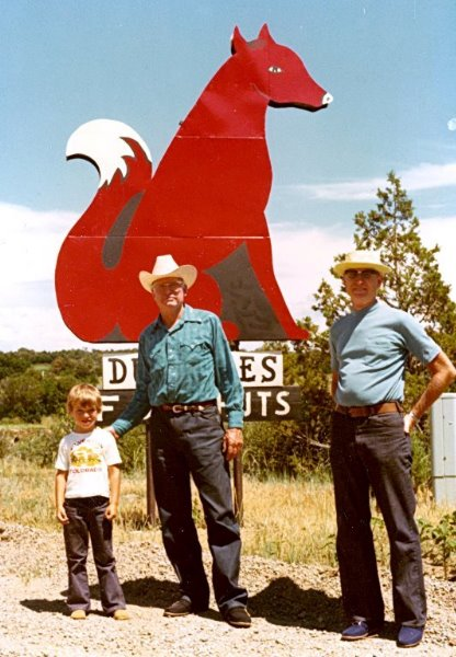 1975-07 Vernon's grandson David, George, and Vernon at their home in Durango