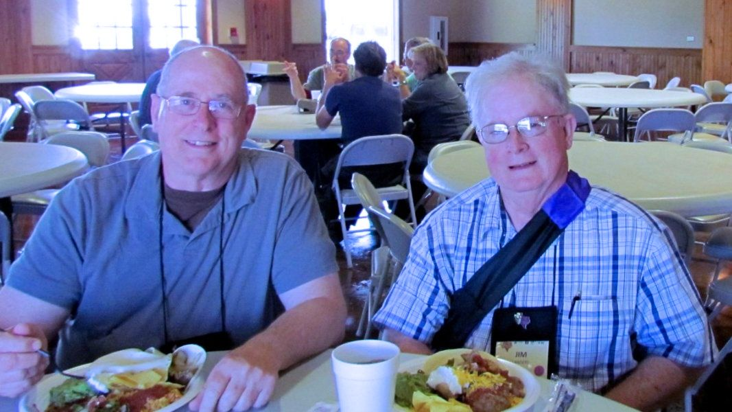 Ken and Jim enjoy fajitas on one of the bus tours, Dallas convention
