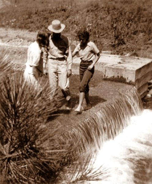 Ewalee, Roland, and Avis on a water race, Ruidoso, 1941