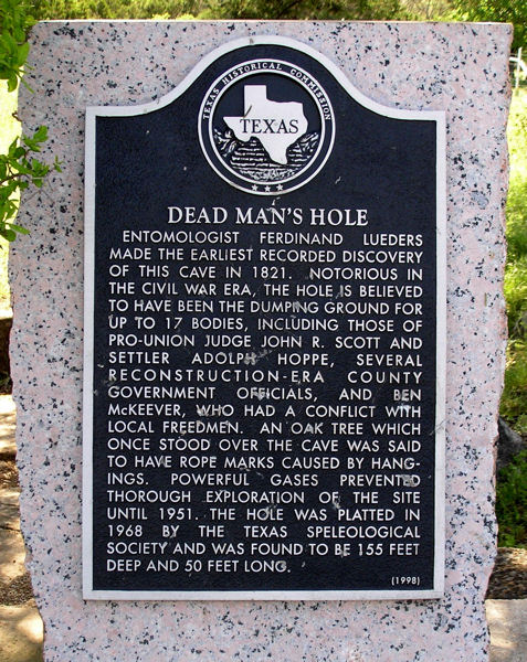 Dead Man's Hole -- Texas Historical Marker